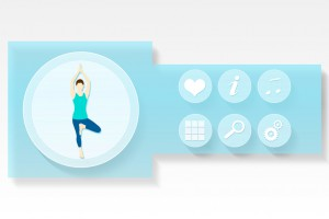 Fitness and health app menu in blue on white background